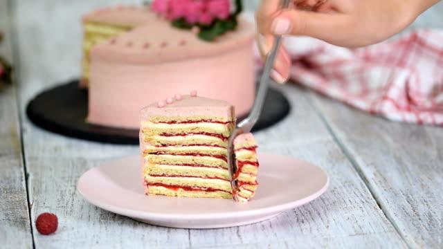 katmanlı kremalı meyveli kek lezzetli piece. ahududu tabakası pasta. - kek dilimi stok videoları ve detay görüntü çekimi
