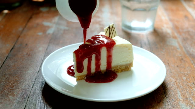 delicious strawberry cheesecake, dessert - desserts stock videos and b-roll footage
