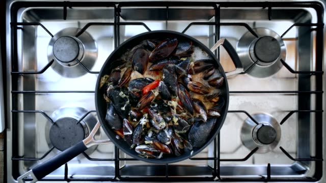 delicious tasty steaming mussels on pan - french food stock videos and b-roll footage