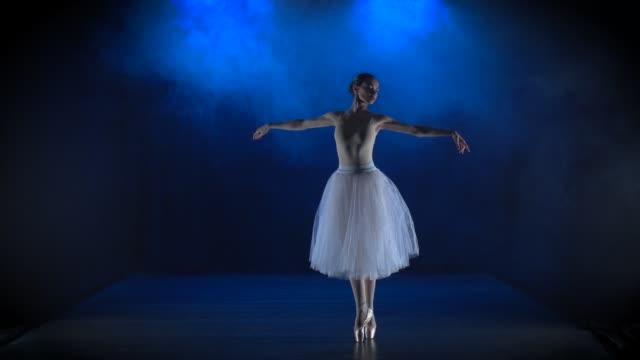 härlig ballerina i vit tutu som uppträder klassisk balett. slow motion - dansa balett bildbanksvideor och videomaterial från bakom kulisserna