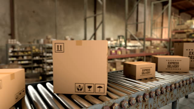 Delivering internet orders and preparing parcels for shipping to buyers, loop video