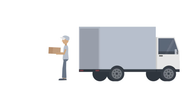 Delivery. Animation of the deliverer handing over the parcel. Courier cartoon
