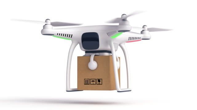Delivery drone. Isolated on white. video