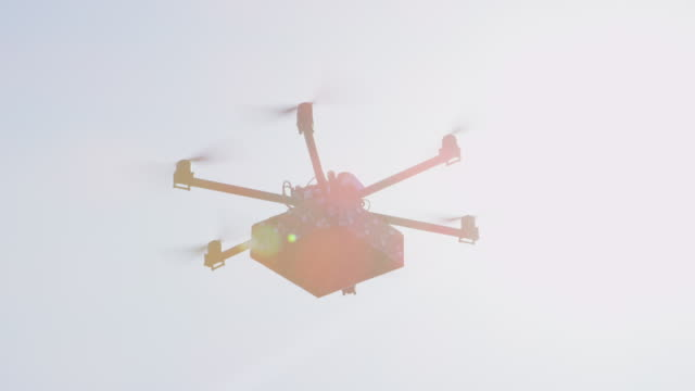 LENS FLARE: Delivery drone shipping last minute Christmas present to your door video