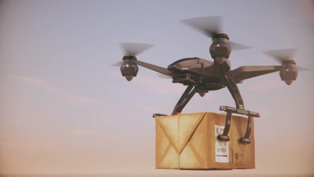 vídeos de stock e filmes b-roll de delivery drones - group of quadrocopters delivering packages. - multicóptero