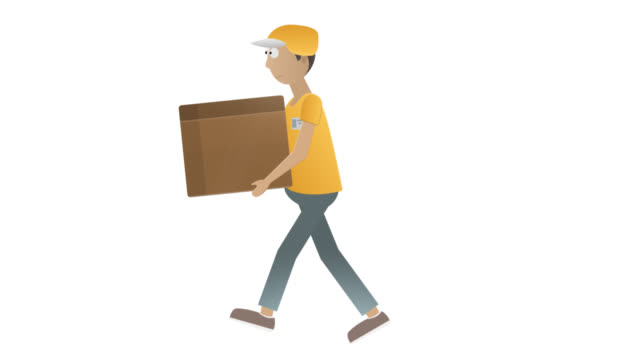 Delivery man. Animation of a courier with a parcel. Cartoon