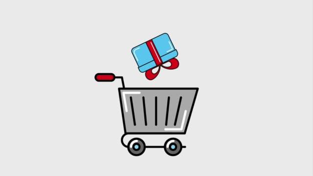 vídeos de stock e filmes b-roll de delivery service concept - shop icon