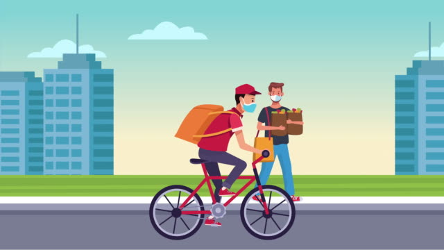 Bидео delivery service in bicycle animation