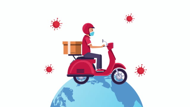 Bидео delivery service in motorcycle animation