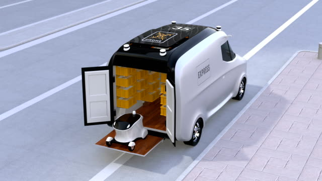 Delivery van releasing self-driving robots and drone to delivering parcels video