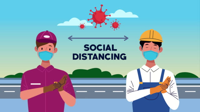 Bидео delivery worker and builder with social distancing message campaign