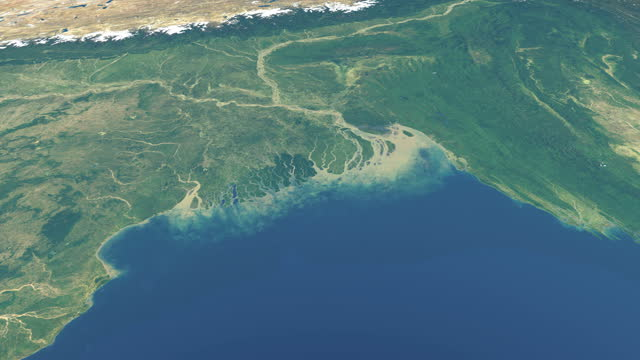 Delta of ganges river in planet earth,  aerial view from outer space Delta of ganges river in planet earth,  aerial view from outer space aerial map stock videos & royalty-free footage
