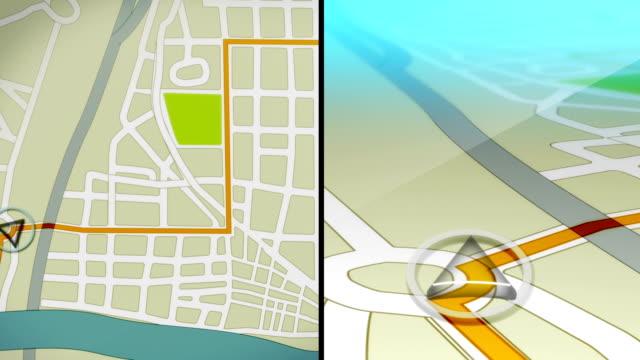 stockvideo's en b-roll-footage met gps demo animation hd - roadmap