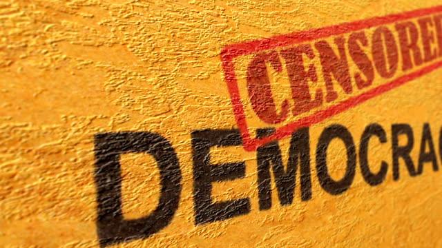 democracy censored grunge concept - censura video stock e b–roll