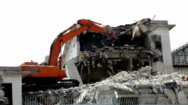 Demolitionof old building at construction site  handful stock videos & royalty-free footage