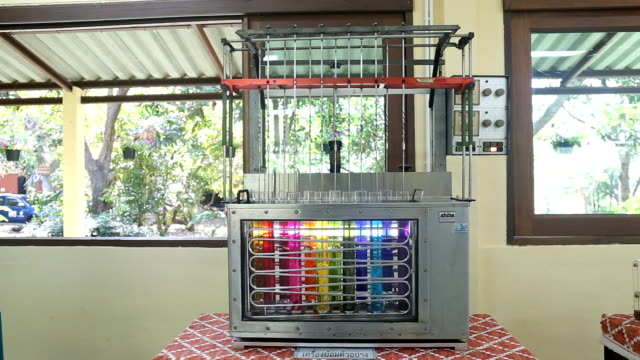 Demonstration of a silk dyeing machine. video