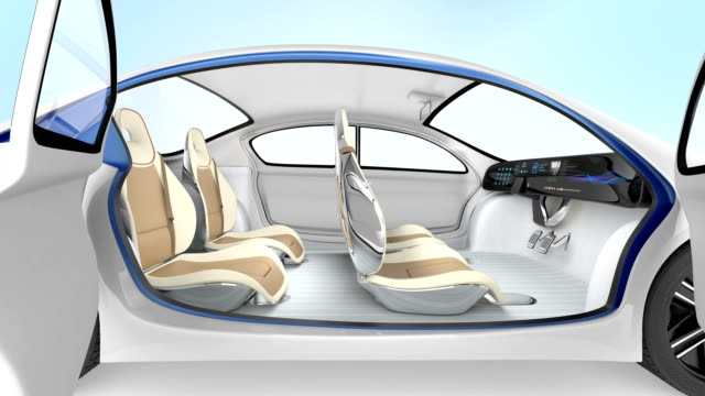 Demonstration of autonomous electric car. The car offer folding steering wheel, rotatable passenger seat video