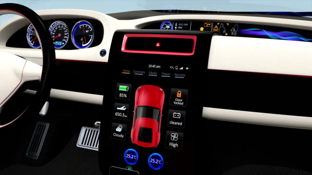 Demonstration of  electric car console UI design. video