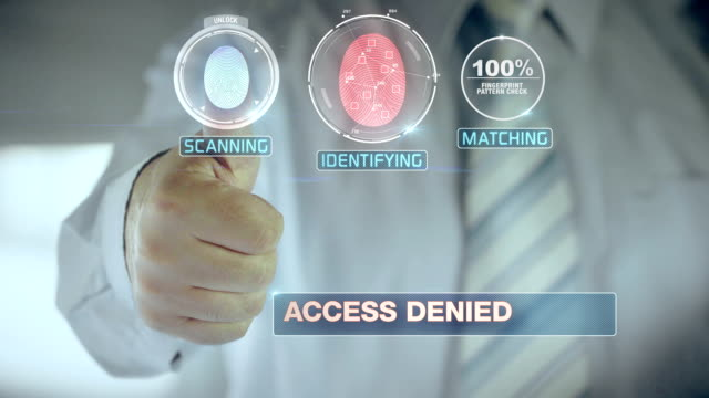 Denied and Businessman passing biometric verification with fingerprint scanner video