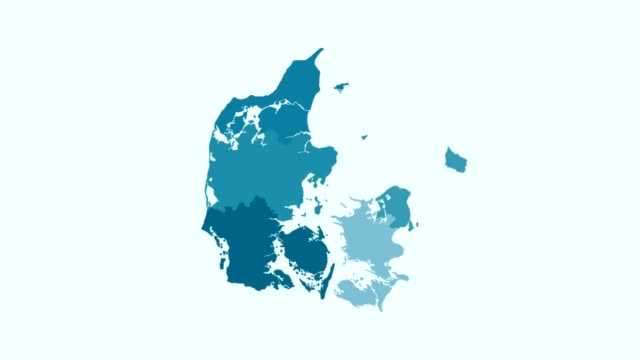 Denmark - Blue tone animated country map Map animation concept denmark stock videos & royalty-free footage