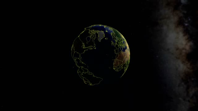 denmark with flag. 3d earth in space - zoom in denmark outer - geografia fisica video stock e b–roll