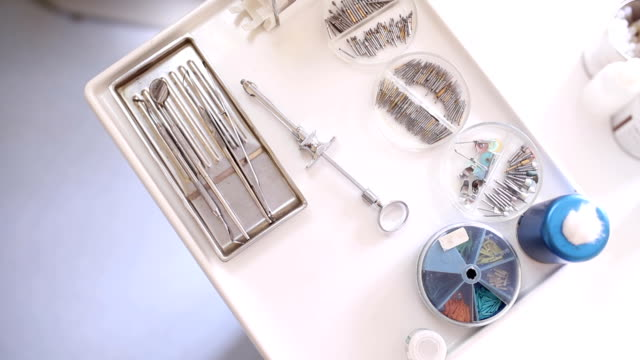 Dental equipment, panning shot Dental equipment, panning shot surgical equipment stock videos & royalty-free footage