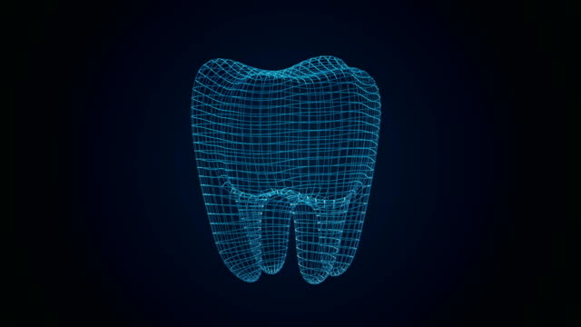 Dental X-Ray. Tooth Wireframe Mesh. Connection Structure motion HUD element. Medicine, health concept.