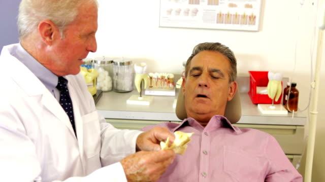 dentist showing male patient model of jaw bone - two dentists talking bildbanksvideor och videomaterial från bakom kulisserna