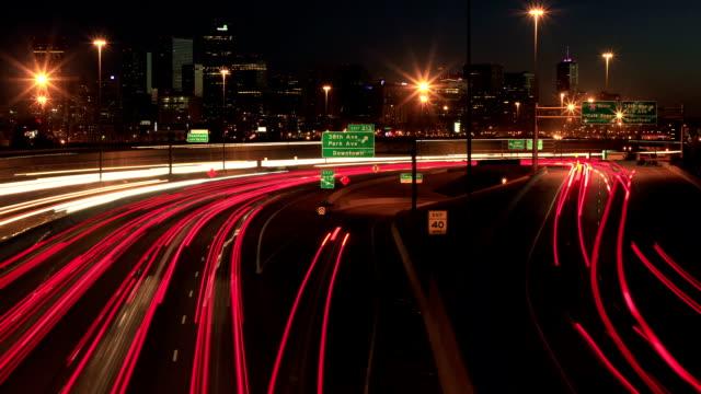 Denver cityscape Sunset time lapse video