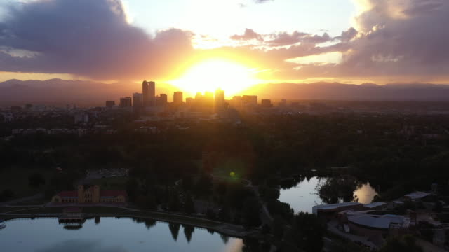 Denver, Colorado City Skyline at Golden Hour Sunset Aerial Drone