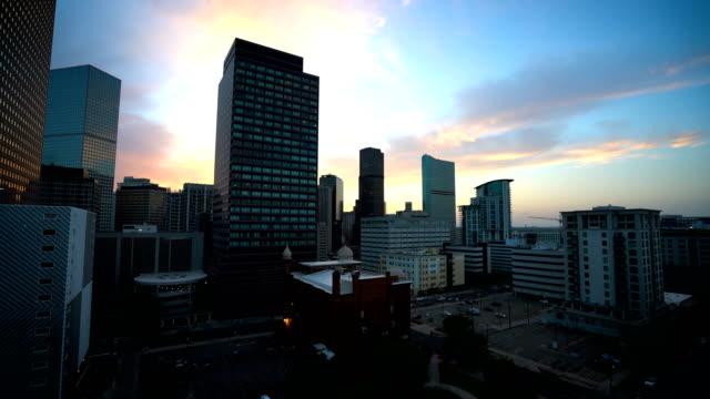 Denver Skyline Sunset Smooth Pan across Colorado Skyline