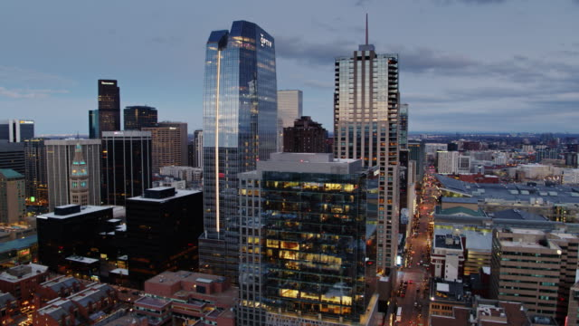 Denver Skyscrapers Glittering at Dusk - Aerial View