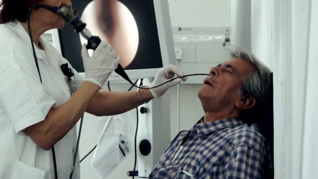 ent bölümünde hastane. nazal endoskopi - burun vücut parçaları stok videoları ve detay görüntü çekimi