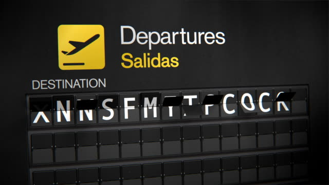 Departures Flip Sign: United States cities