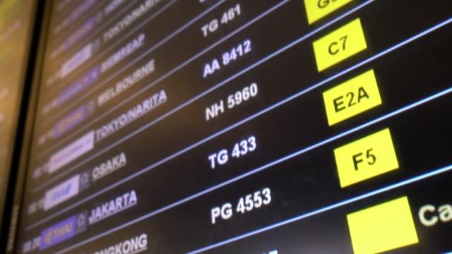 departures monitor display board showing destinations flights for traveler and passenger at suvarnabhumi international airport. - табло вылетов и прилётов стоковые видео и кадры b-roll