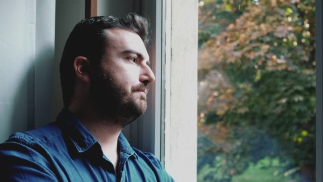 Depressed man face portrait fixed shot