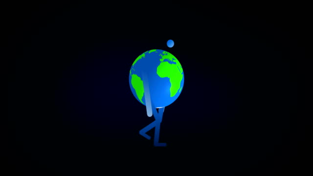 Depressed Planet Earth Cartoon Character in Walk Cycle Animation 4k Rendered Video. video