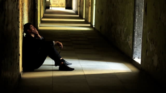 Depressed Young Man Suit Thinking Sucidal Businessman Concept HD video
