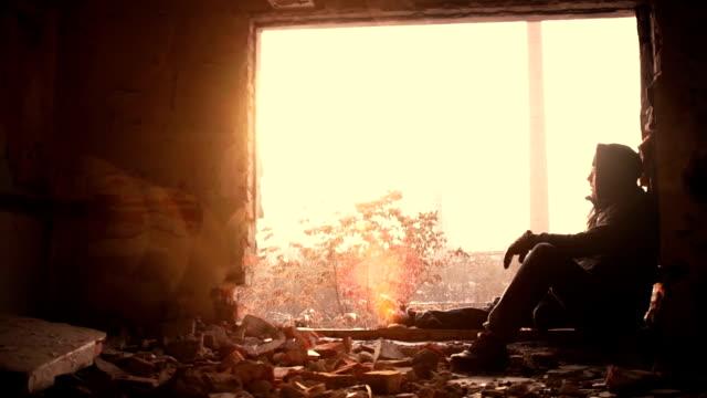 Depression Young Man Sitting On Window Edge video