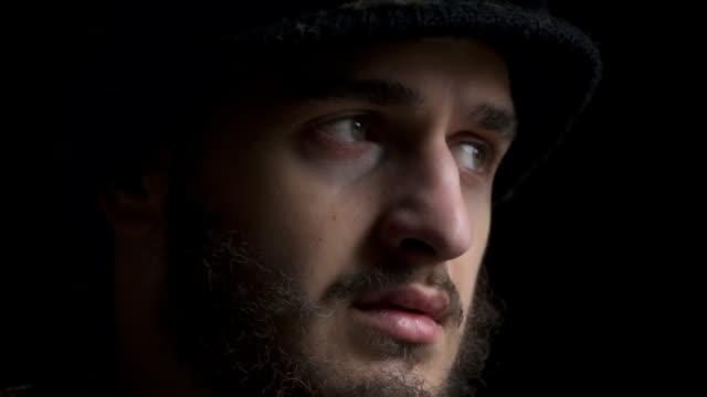 Depressive face of homeless video