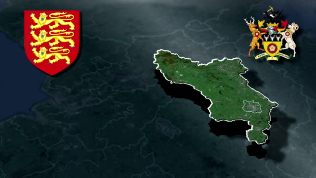 Derbyshire white Coat of arms animation map video