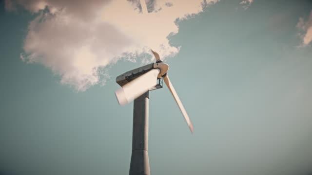 Desaturated Clip of Wind Turbine video