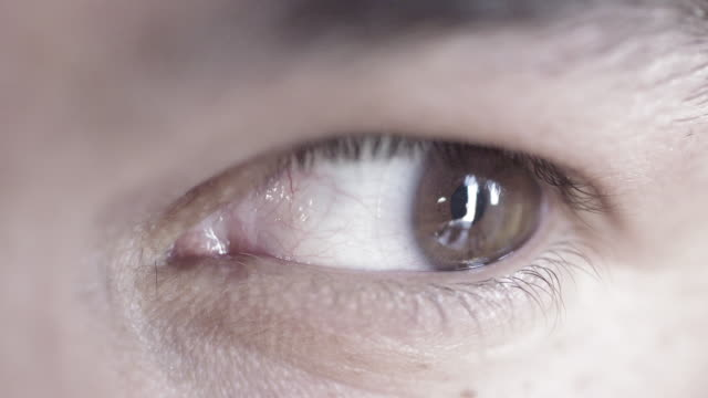 Desaturated slow-motion brown eye looking at camera video