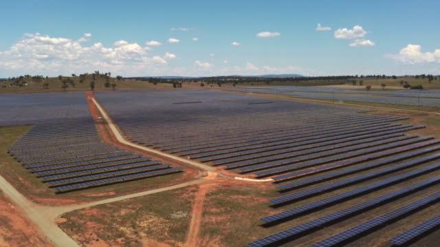 descending aerial clip of a solar farm at parkes