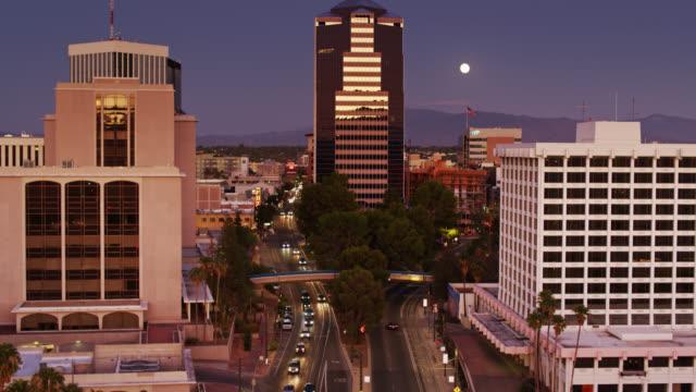 Descending Drone Shot of Tucson Street at Twilight