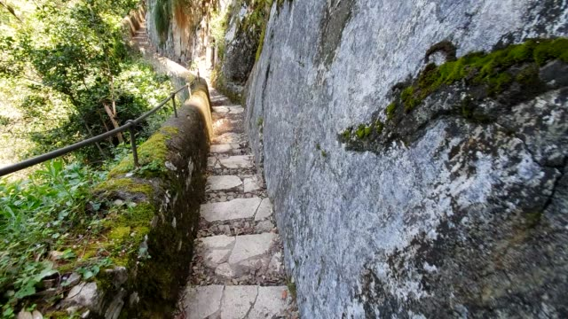Descending the stairs along the cliff in the wildlife Park. First person view. Walk in the wild