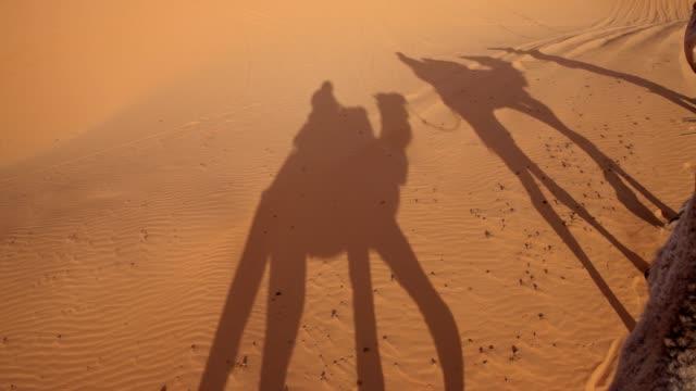 砂漠のキャラバンの影を落として - 影点の映像素材/bロール