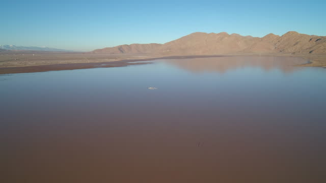 Desert Dry lake filled with water video