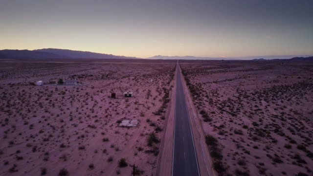 Desert Road at Twilight - Drone Shot video