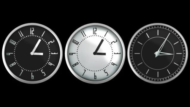 vídeos de stock e filmes b-roll de design relógios de parede. loopable. matte de luminosidade. preto e branco. - três objetos